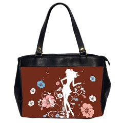 Girl Flowers Silhouette  Office Handbags (2 Sides)  by amphoto