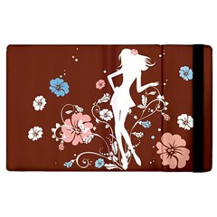 Girl Flowers Silhouette  Apple Ipad 3/4 Flip Case by amphoto