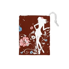 Girl Flowers Silhouette  Drawstring Pouches (small)  by amphoto