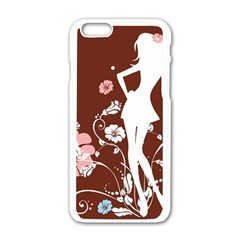 Girl Flowers Silhouette  Apple Iphone 6/6s White Enamel Case by amphoto