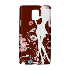 Girl Flowers Silhouette  Samsung Galaxy Note 4 Hardshell Case by amphoto