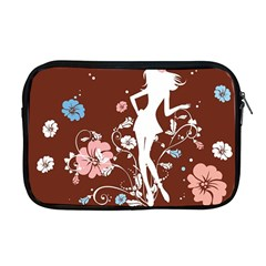 Girl Flowers Silhouette  Apple Macbook Pro 17  Zipper Case by amphoto
