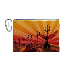 Wings Drawing Poles  Canvas Cosmetic Bag (m) by amphoto