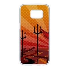 Wings Drawing Poles  Samsung Galaxy S7 Edge White Seamless Case by amphoto