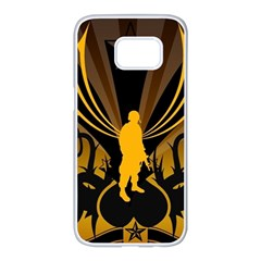 Soldiers Army Line  Samsung Galaxy S7 Edge White Seamless Case by amphoto