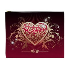 Heart Patterns Lines  Cosmetic Bag (xl) by amphoto