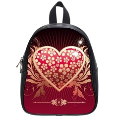 Heart Patterns Lines  School Bag (small) by amphoto