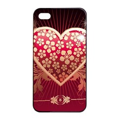 Heart Patterns Lines  Apple Iphone 4/4s Seamless Case (black) by amphoto