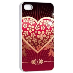 Heart Patterns Lines  Apple Iphone 4/4s Seamless Case (white) by amphoto