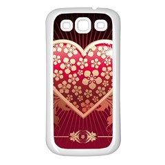 Heart Patterns Lines  Samsung Galaxy S3 Back Case (white) by amphoto