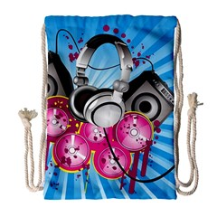 Speakers Headphones Colorful  Drawstring Bag (large) by amphoto
