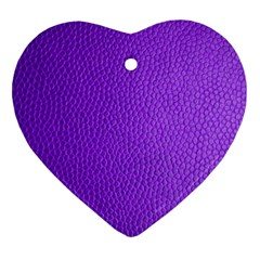 Purple Skin Leather Texture Pattern Heart Ornament (two Sides) by paulaoliveiradesign