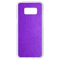 Purple Skin Leather Texture Pattern Samsung Galaxy S8 White Seamless Case by paulaoliveiradesign