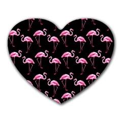 Flamingo Pattern Heart Mousepads by Valentinaart