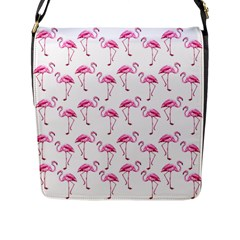 Flamingo Pattern Flap Messenger Bag (l)  by Valentinaart