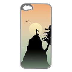 Cliff Mountain Tree  Apple Iphone 5 Case (silver) by amphoto