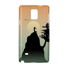 Cliff Mountain Tree  Samsung Galaxy Note 4 Hardshell Case by amphoto