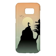 Cliff Mountain Tree  Samsung Galaxy S7 Edge Hardshell Case by amphoto