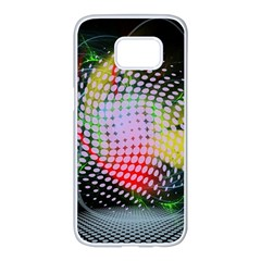 Colorful Lines Dots  Samsung Galaxy S7 Edge White Seamless Case by amphoto