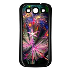 Patterns Lines Bright  Samsung Galaxy S3 Back Case (black) by amphoto