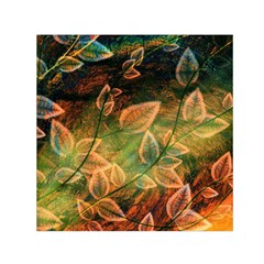 Leaves Plant Multi Colored  Small Satin Scarf (square) by amphoto