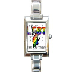 Lgbt New York Rectangle Italian Charm Watch by Valentinaart