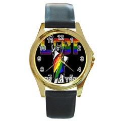 Lgbt New York Round Gold Metal Watch by Valentinaart