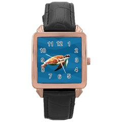 Sea Turtle Rose Gold Leather Watch  by Valentinaart