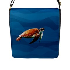 Sea Turtle Flap Messenger Bag (l)  by Valentinaart