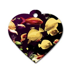 Tropical Fish Dog Tag Heart (one Side) by Valentinaart
