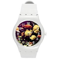 Tropical Fish Round Plastic Sport Watch (m) by Valentinaart