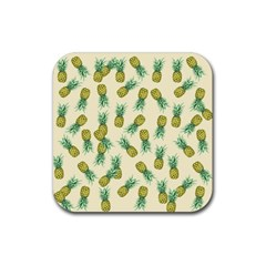 Pineapples Pattern Rubber Coaster (square)  by Valentinaart