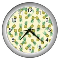 Pineapples Pattern Wall Clocks (silver)  by Valentinaart