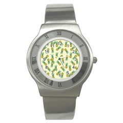 Pineapples Pattern Stainless Steel Watch by Valentinaart