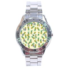 Pineapples Pattern Stainless Steel Analogue Watch by Valentinaart
