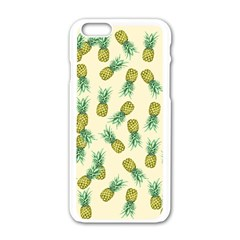 Pineapples Pattern Apple Iphone 6/6s White Enamel Case by Valentinaart