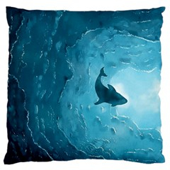 Shark Large Flano Cushion Case (one Side) by Valentinaart