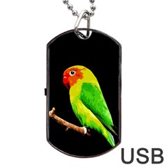 Parrot  Dog Tag Usb Flash (two Sides) by Valentinaart