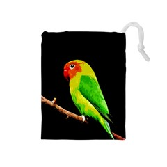 Parrot  Drawstring Pouches (medium)  by Valentinaart