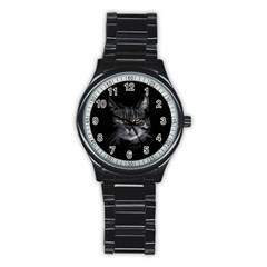 Domestic Cat Stainless Steel Round Watch by Valentinaart