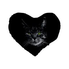 Domestic Cat Standard 16  Premium Flano Heart Shape Cushions by Valentinaart