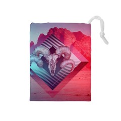 Horns Background Cube  Drawstring Pouches (medium)  by amphoto