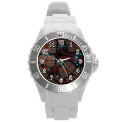 Surface Grid Lines  Round Plastic Sport Watch (l) by amphoto