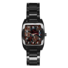 Surface Grid Lines  Stainless Steel Barrel Watch by amphoto