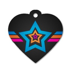 Star Background Colorful  Dog Tag Heart (one Side) by amphoto