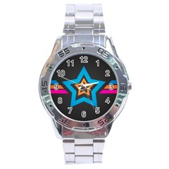 Star Background Colorful  Stainless Steel Analogue Watch by amphoto