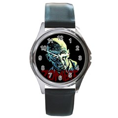 Zombie Round Metal Watch by Valentinaart