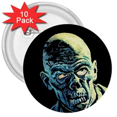 Zombie 3  Buttons (10 Pack)  by Valentinaart