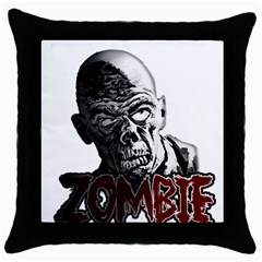 Zombie Throw Pillow Case (black) by Valentinaart