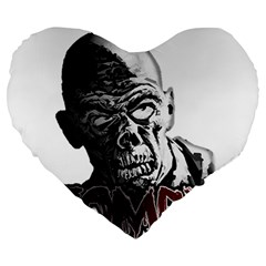 Zombie Large 19  Premium Heart Shape Cushions by Valentinaart